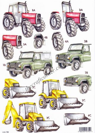 Tractor and Digger  Die Cut 3d Decoupage Sheet From Craft UK Ltd